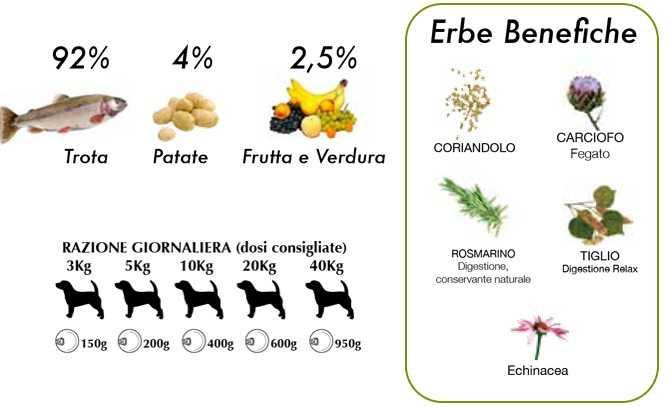cibo umido per cani naturale trota e lamponi Dalla Grana