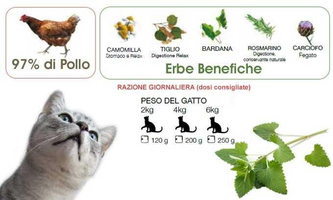 cibo umido per gatti naturale Pollo con Erba Gatta Dalla Grana