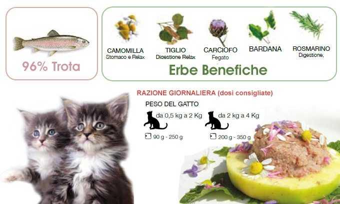cibo umido per gatti naturale Trota con Mela per gattini Dalla Grana
