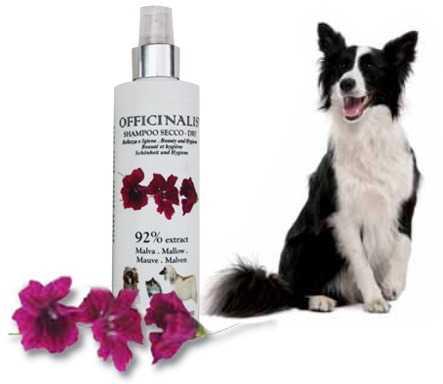 Shampoo a secco Malva per cani e gatti dal pelo lungo e lanoso