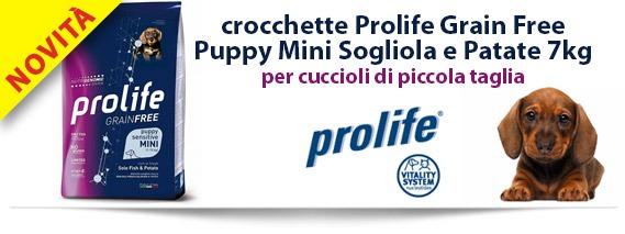 Novità: crocchette Prolife Grain Free Puppy Sensitive Mini Sogliola e Patate 7 Kg per cuccioli di piccola taglia