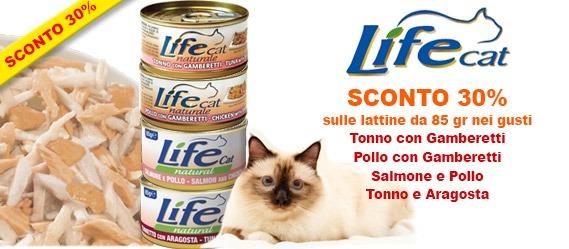 sconto 30% cibo umido per gatti LifeCat 85 gr
