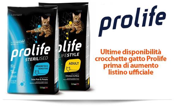 Prolife crocchette gatto - ultime disponibilità prima di aumento listino ufficiale