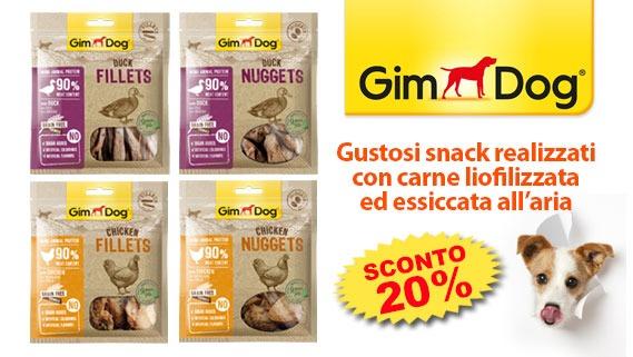 Sconto 20% snack per cani Gimdog
