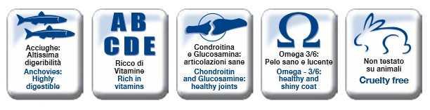 Acciughe: altissima digeribilità - Ricco di Vitamine - Condroitina e Glucosamina: articolazioni sane - Omega 3/6: pelo sano e lucente - Cruelty free