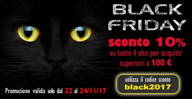 Black Friday sconto 10% su tutto il sito, solo per 2 giorni!