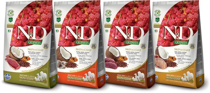 crocchette per cani intolleranti linea Farmina N&D Quinoa Skin & Coat
