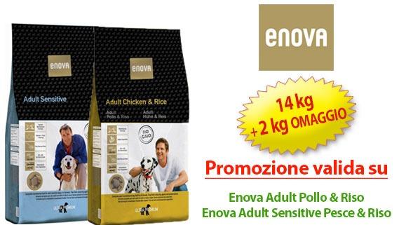 offerta crocchette Enova 14 kg + 2 omaggio su Enova Adult Pollo & Riso / Enova Adult Sensitive Pesce & Riso
