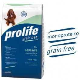 Sconto dal 25% al 27,5% per le crocchette Prolife Grain Free Sensitive Pesce e Patate