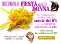Festa della Donna buono sconto del 5% su alimenti ed accessori per cani e gatti