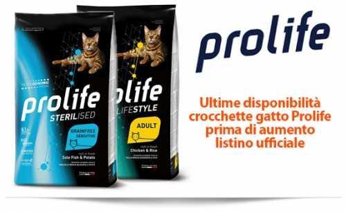 Crocchette Prolife per gatti e cani Ultime disponibilità prima del Cambio di Listino