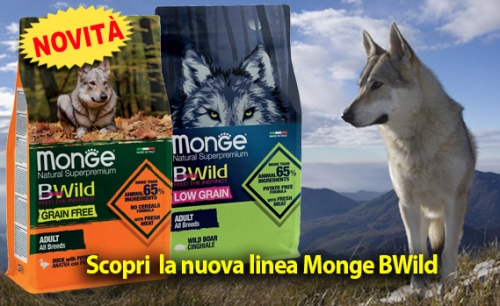 BWild le crocchette Grain Free e Low Grain di Monge per l'alimentazione del cane