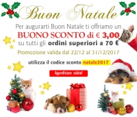 Sconto Natale € 3,00 - Auguri di Buone Feste da Pet Shop Store
